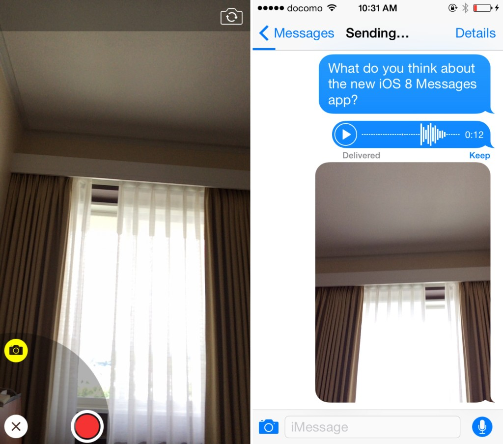iOS 8 Messages quick photo video
